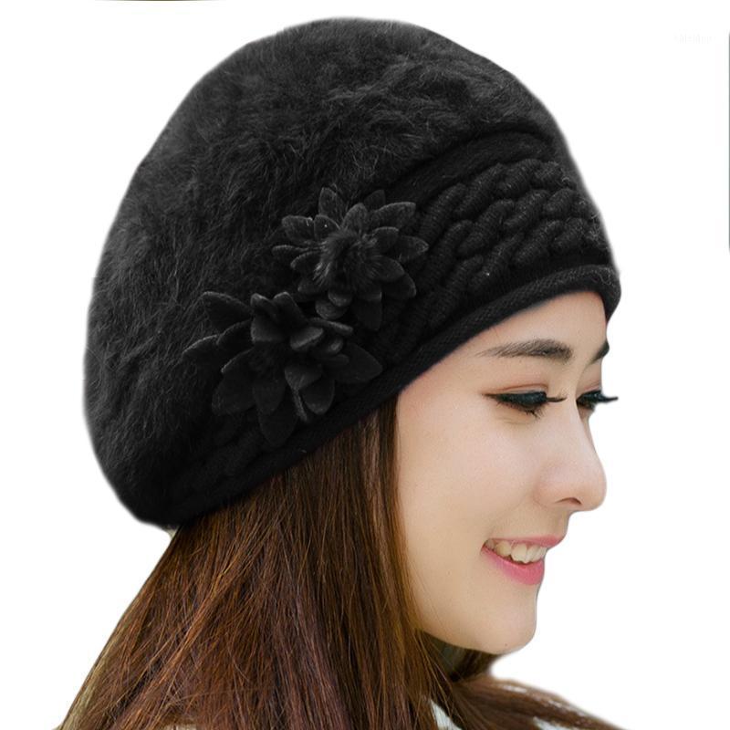 Mütze / Schädelkappen Frauen BERET MANIE gestrickte Hut Damen Winter Hüte für Faux Pelz Bonnet Femme Warmwolle Gorro InvierNo Mujer1