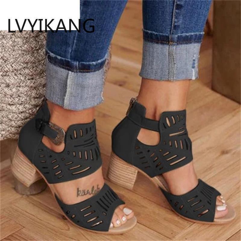 Donna Sandali tacco alto gladiatore Fibbia cinghia di modo della donna dei pattini Sandali Mujer 2020 signore di estate sandali Plus Size 35-43