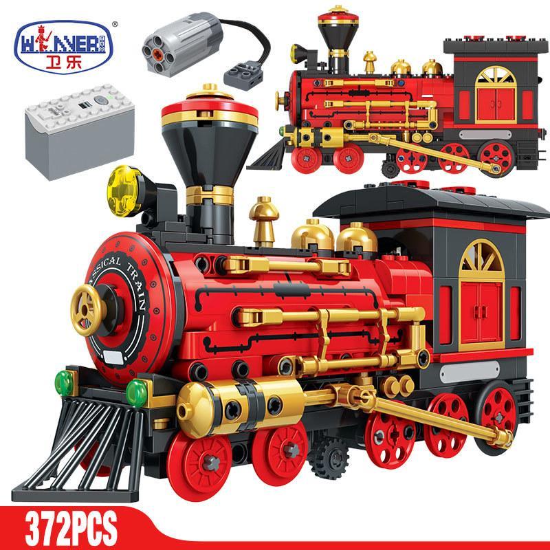 Erbo 372pcs Электрический Классический поезд здания Blocks Technic City Классический Силовая MOC Модель Кирпичи игрушки для детей подарки C1115