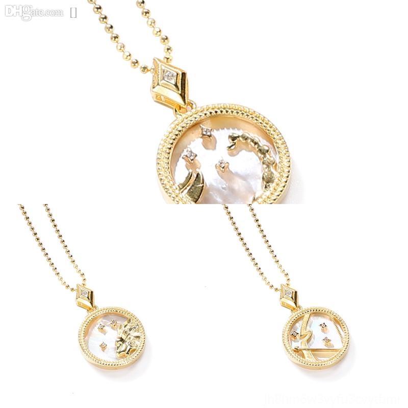 Gogqwglass jóias jewerly três cores brincos e colar shell colar doze constelações para s925 set