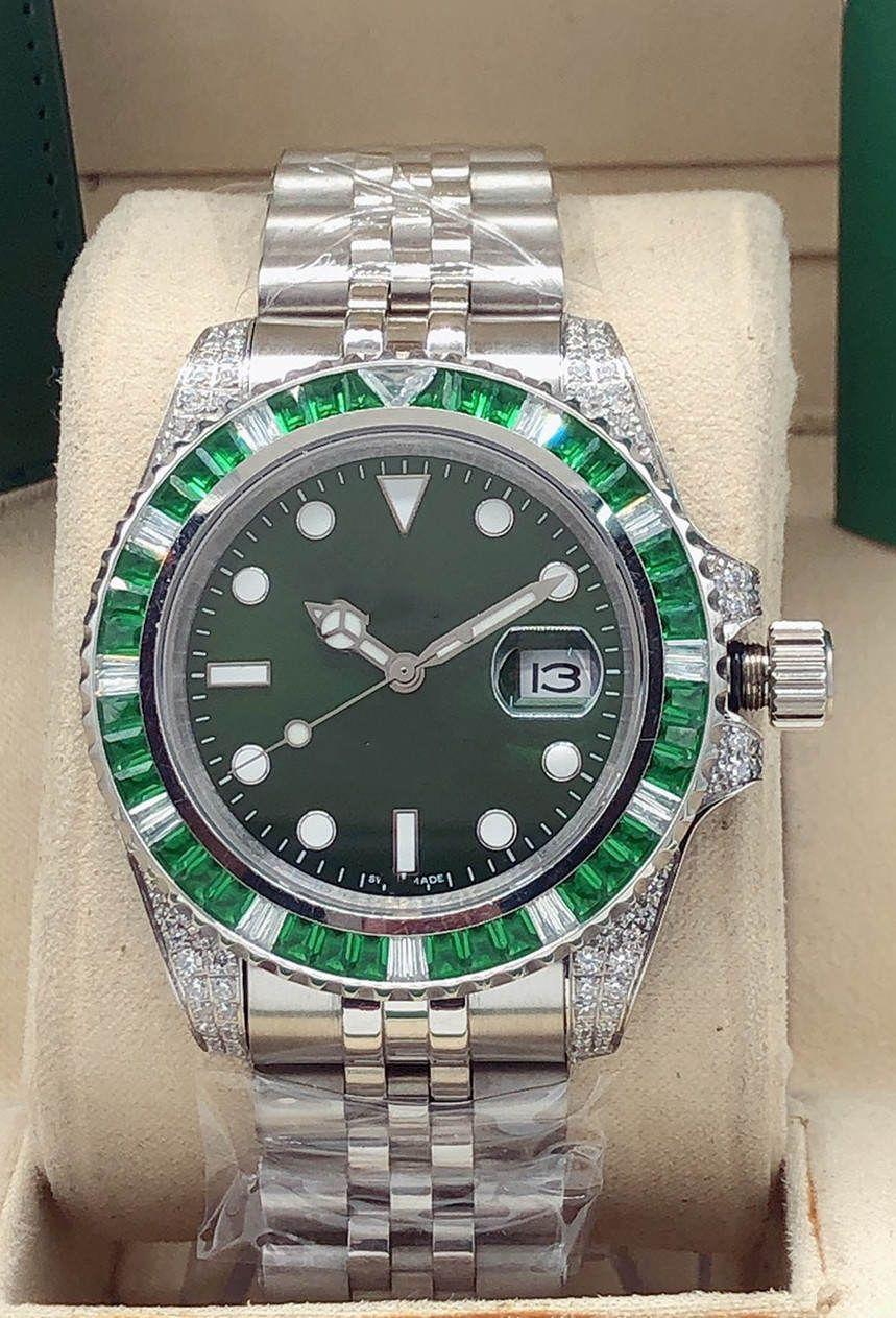 Hot 40mm relógios de pulso Aço Inoxidável Automático Mecânica Mesa Impermeável Mesa Data Verde Rainbow Anel Moda Moda Homens e Mulheres Relógios Esportivos