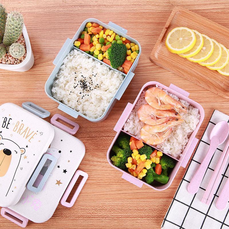 BPA gratis de dibujos animados Caja de almuerzo ecológica Paja de trigo ecológica Encantadora Bento Bento Microondas Tenedor de vajilla Envase de almacenamiento de alimentos para niños Y200429