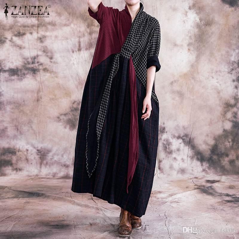 Zanzea Vintage Dress Long Dress Donne Pacthwork Maxi prendisole Autumn Autunno Retro Plaid a quadri con selezione allentato Vestido Kaftan Abiti tunica 5xL