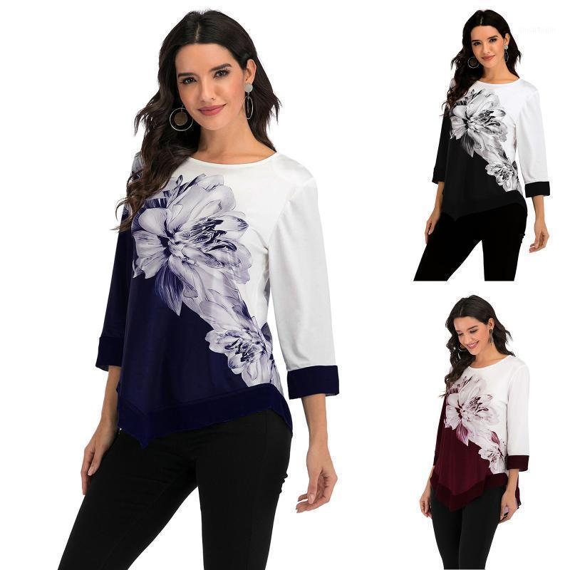 Открытый футболки женская футболка мода мода цветок сплайсинг печатание дамы повседневная вершина свободного дна с длинным рукавом с длинным рукавом All-match Tops1