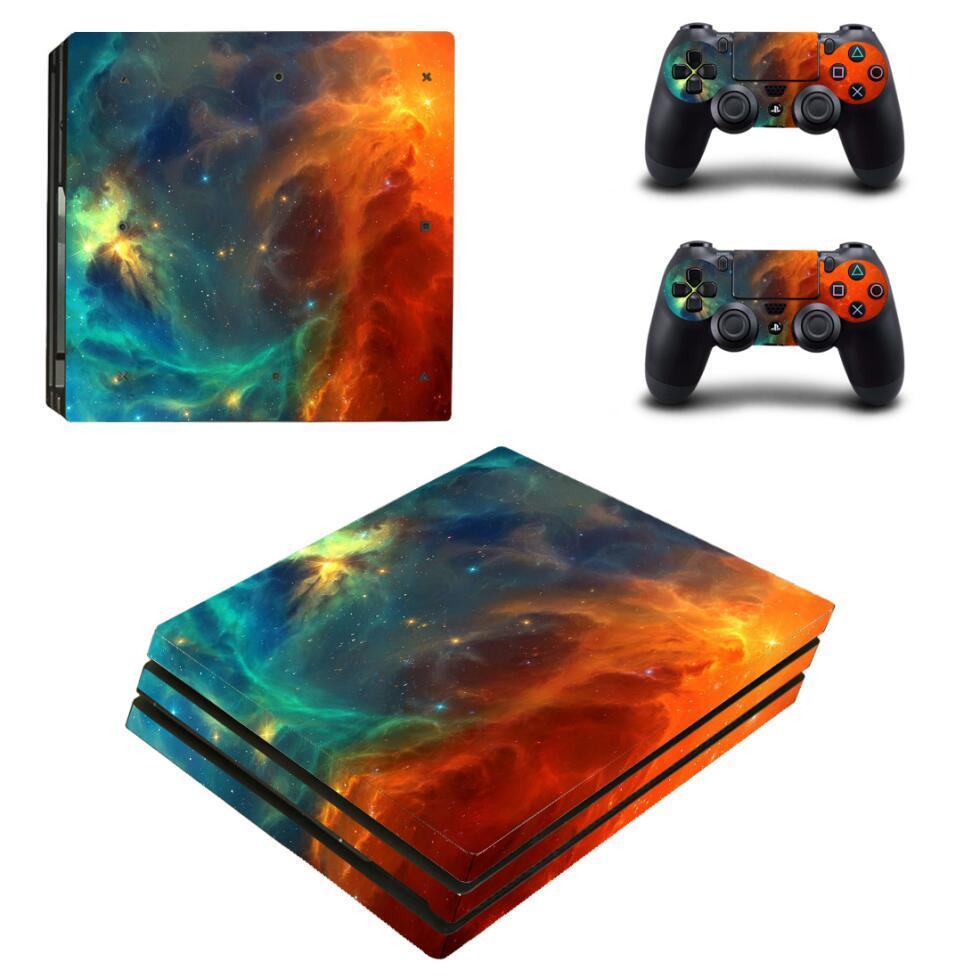 Terra Pintura Pele Galaxy Estilo Vinyl Decal Adesivo para Sony PS4 Pro Console e 2 controladores de pele Gaming