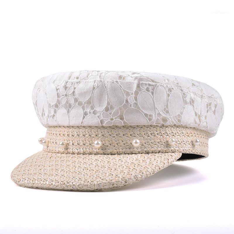 H7643 Женская шляпа береты девушка лето солнцезащитный крем кружева соломенные береты кепки женские мода жемчужина плоская верхняя защита от солнца элегантные шикарные шапки1