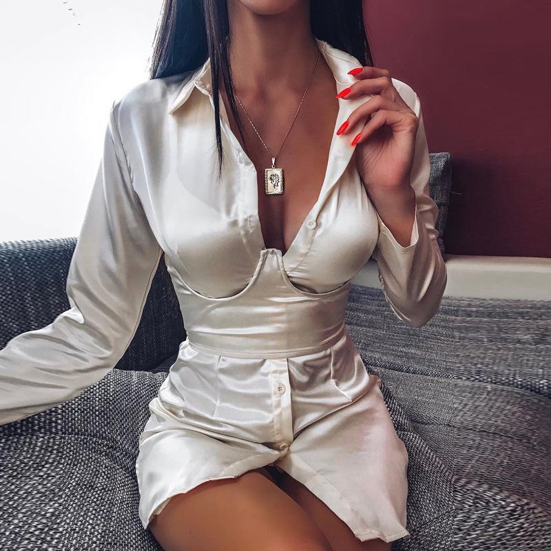 Women Sexy Satin Shirt Blouse With Lace Up Belt Corset Female Long Sleeve Buttons Shirt Blouse 2020 Blusa For Women
