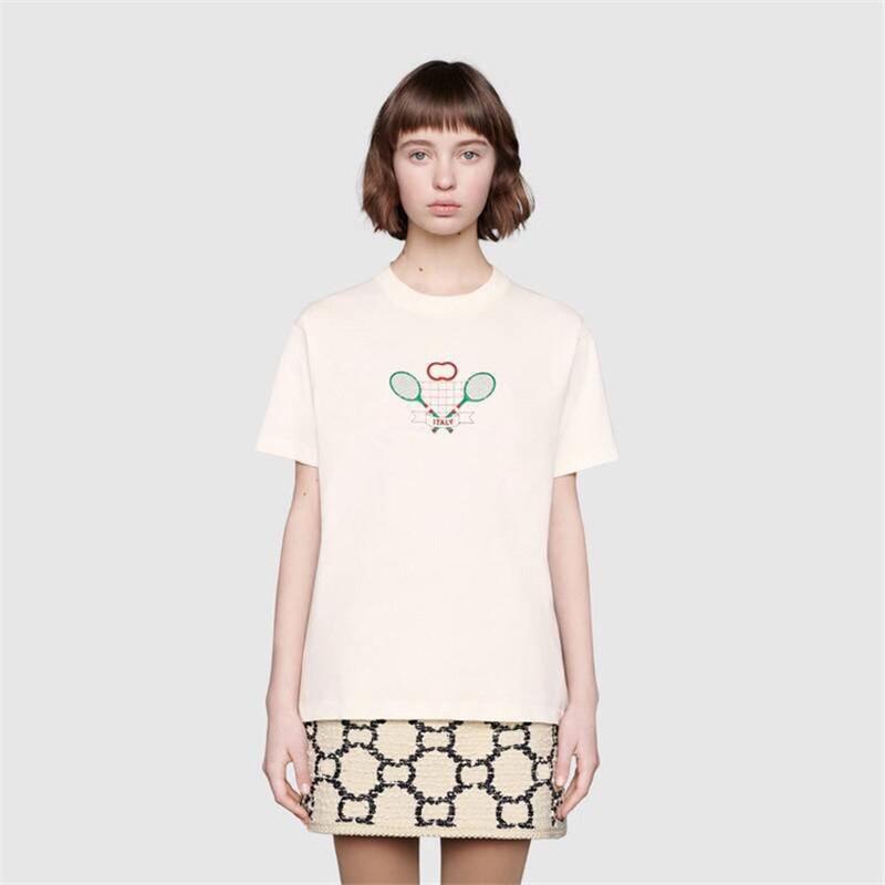 19SS 테니스 라켓 자수 T 셔츠 베이지 색 이탈리아에서 만든 티셔츠 남성 여성 반팔 여름 캐주얼 패션 티 남성 여성 HFLSTX470