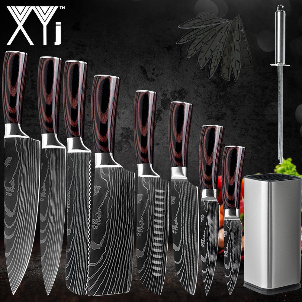 XYJ Japanische Stil Küchenmesser Set 7cr17 Edelstahl Chef, Brot Santoku Kleber Boning Paring Kochwerkzeuge Cover