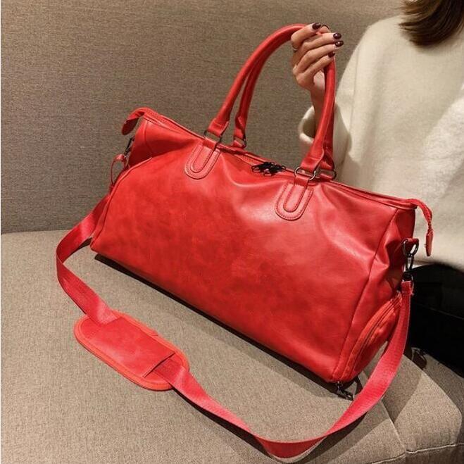Moda Siyah Su Dalgalanma 45 cm Spor Duffle Çanta Kırmızı Bagaj M53419 Adam ve Kadın Duffel Çanta ile Kilit Etiketi