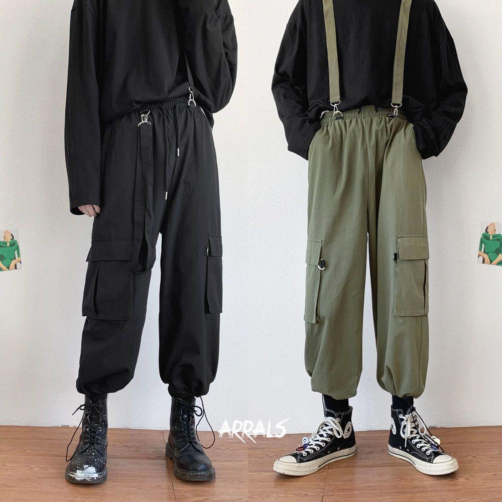 2020 jeunes Salopette Mode pour hommes amovible salopettes Romper Jumpsuit Cargo Pantalons simple en vrac Streetwear Pantalon M-2XL 1114