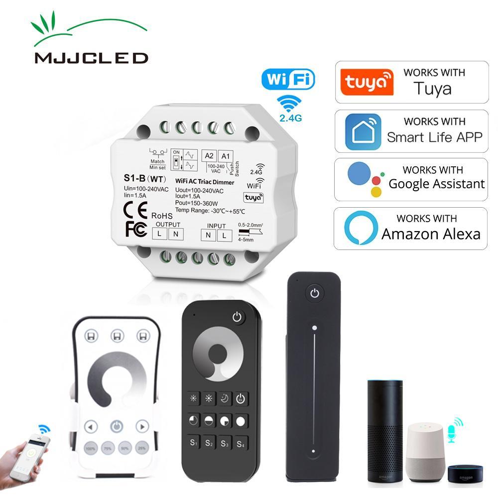 WiFi 2.4G RF AC Triac LED Dimmer 220V 230V Trabajo con Tuya Smart Life App Amazon Alexa Echo Asistente de Google Asistente de voz Control de voz