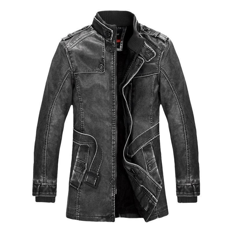 PU d'hiver d'homme Veste moto épais manteaux en molleton chaud d'extérieur Slim Fit Homme Manteau en cuir Marque Vêtements J6T557