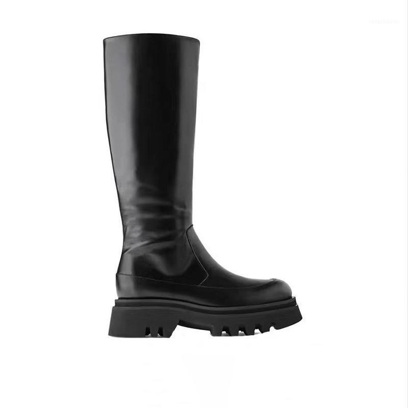 2020 Marka Tasarımcısı Uzun Çizmeler Kadın Tıknaz Topuk Platformu Ayakkabı Yan Zip Diz Yüksek Çizmeler Ins Tarzı Kadın Kış Ayakkabı1