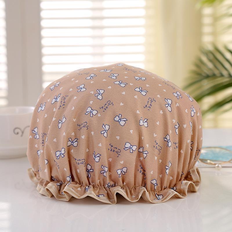 1 pz Cappellino da bagno Cartoon Doppio strato impermeabile Copertura in cotone in cotone in poliestere multicolore Cappelli da doccia multicolore Prodotti da bagno H BBYCBG