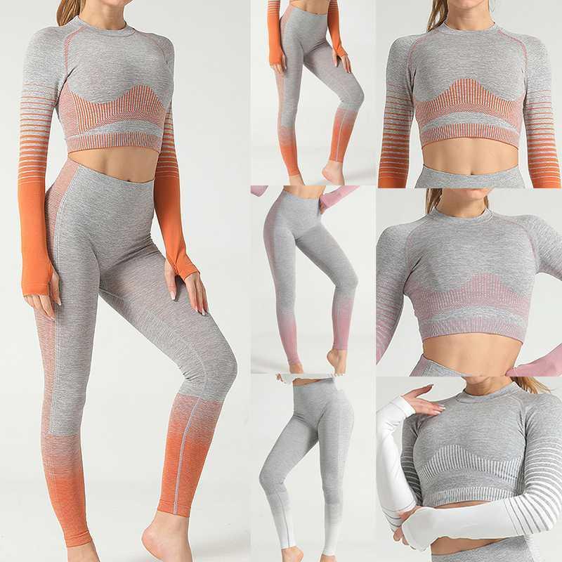 2020 Women Yoga Sets Gym Fitness Athletic 2 Pcs Sports Suits Set Pants Leggings Sportswear Leggings Seamless Sports Shirts