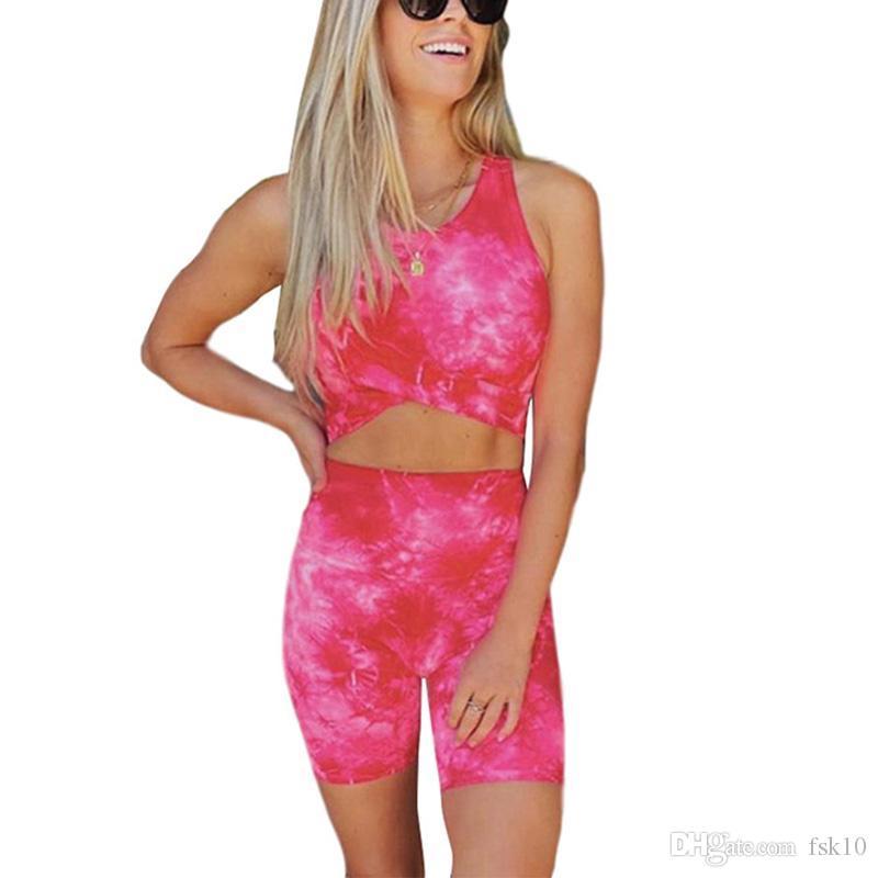 Deporte de las mujeres sin mangas Conjunto de teñido lazo Crop Top cintura alta pantalones cortos fijados para la ropa del entrenamiento de la yoga Running Ropa / 2