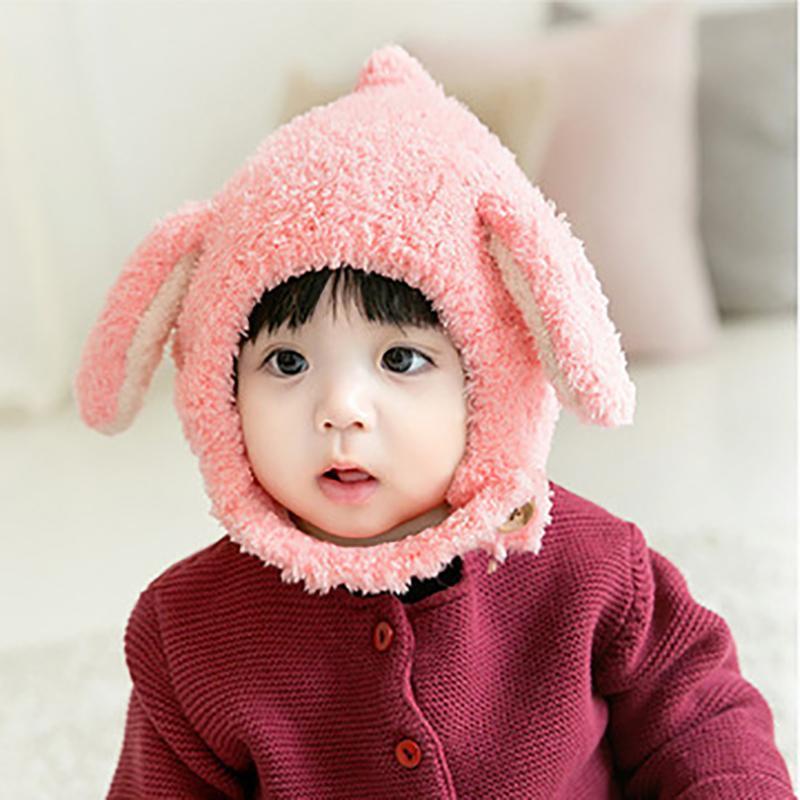 Bebek Şapka Sonbahar Kış Sevimli Çocuk Sıcak Kulak Koruma Windproof Bebek Peluş Şapka Yün Örme Cap