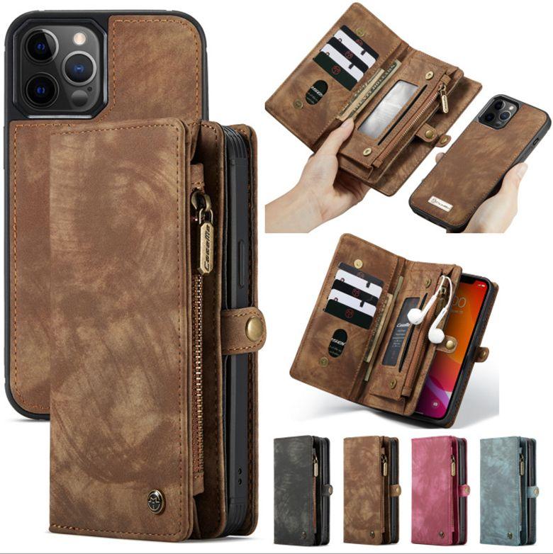 Retro extraíble Cadena Cartera de cuero de caso 11 ranuras de tarjeta monedero para iPhone 12/11 Pro Max 8 Plus 6s Samsung S20 Nota 10 5G