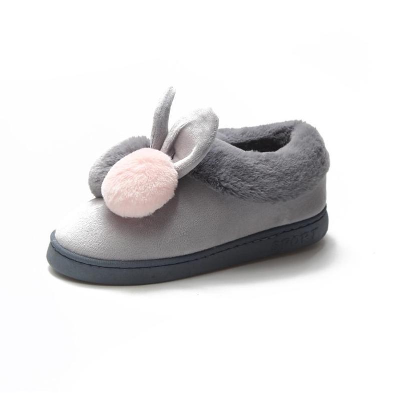 Nouvelle mode automne hiver coton pantoufles de lapin oreille pantoufles hiver hiver chaud intérieur chaussures de plein air femmes maison fourrure pantoufles 201104