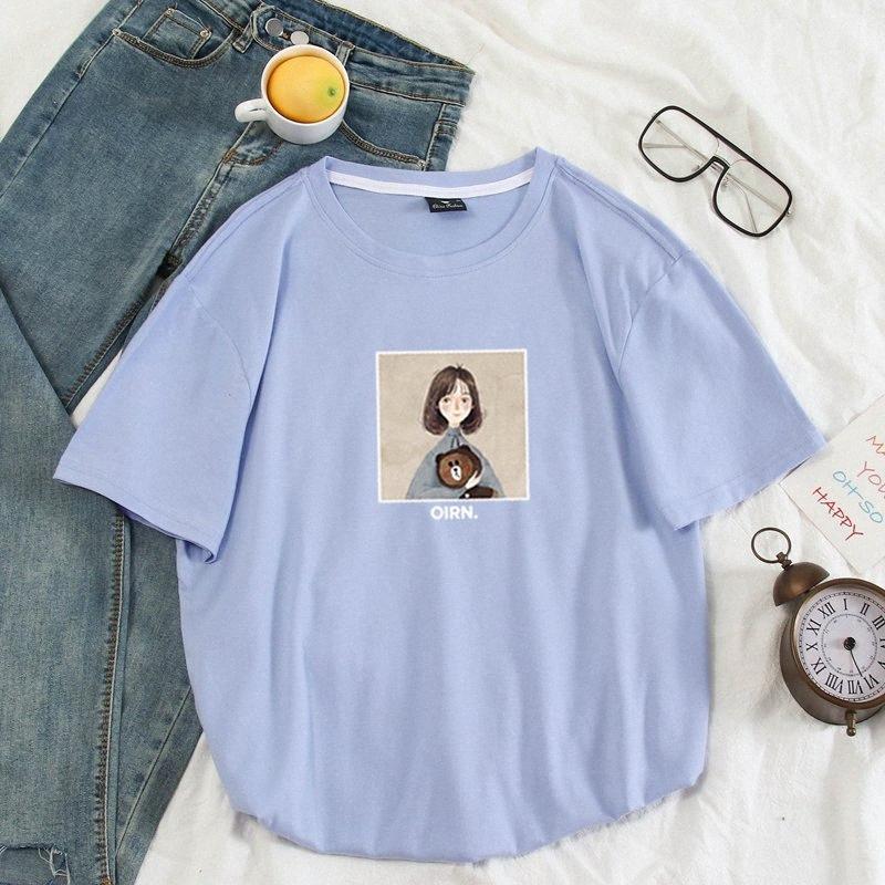 Coton Couleur unie femmes T-shirt Cec hommes et femmes Couples col rond Petite Fille Ours brun chemise à manches courtes T-shirts S 4XL T-shirt d23w #