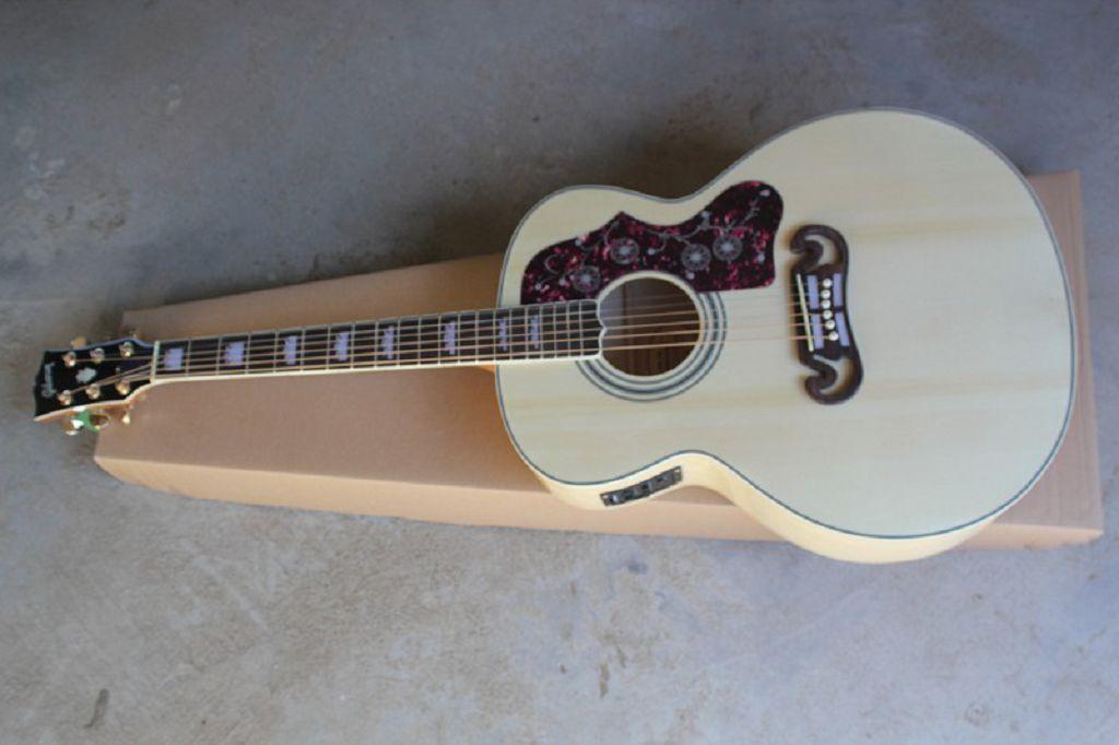 Benutzerdefinierter Shop Neue Ankunft Dot Fichte Beige SJ200 6 Saiten Elektrische Akustikgitarre mit Fischer Pickups Freies Verschiffen
