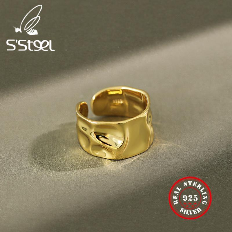 Irregular 925 Sterling Silver Rings Female Resizable Korea Ring Handmade Anillos Plata 925 Para Mujer Bijoux Femme 2020 Jewelry