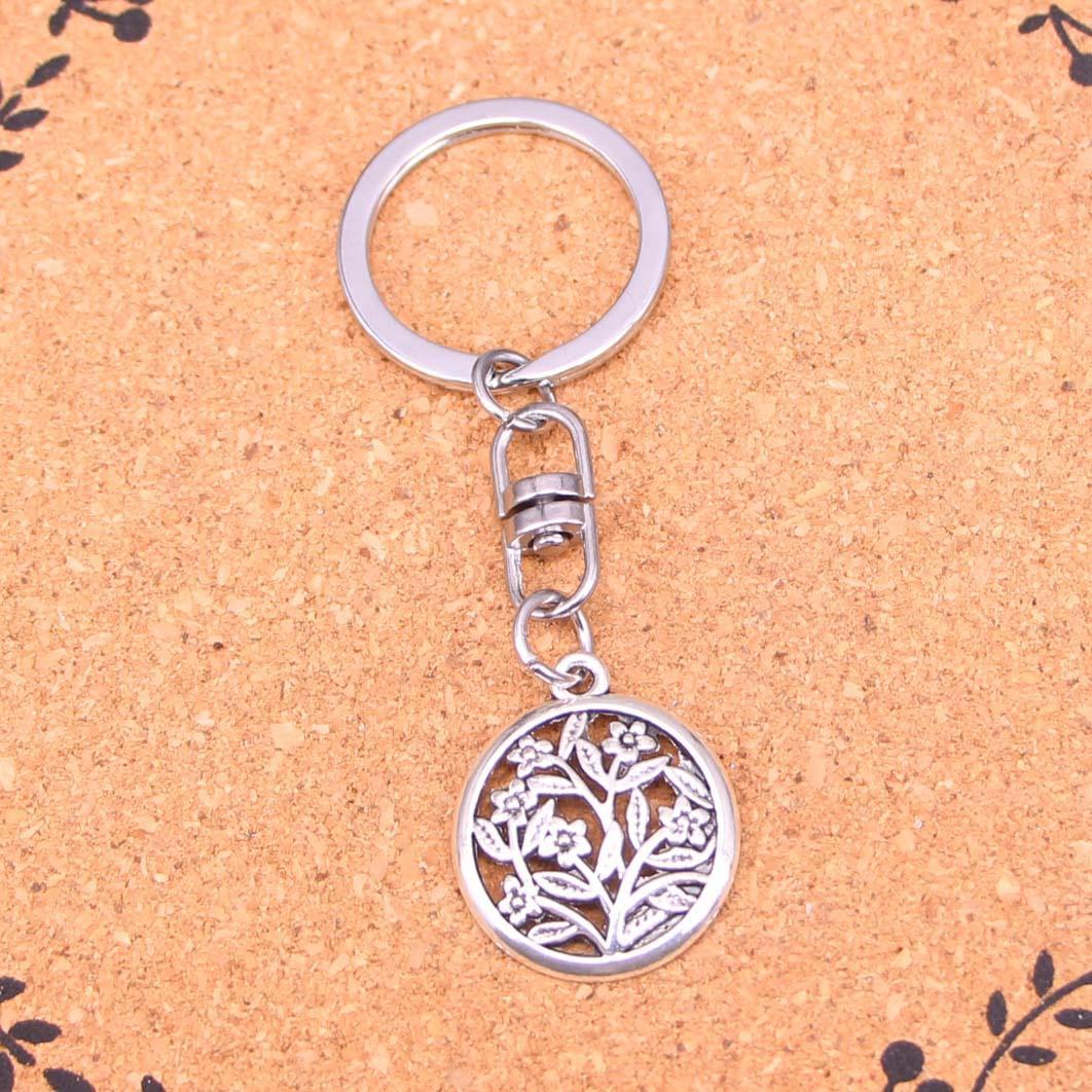 Mode Keychain fleurs cercle 23mm Pendentifs bricolage Bijoux voiture Porte-clés Anneau Porte-souvenir pour cadeau