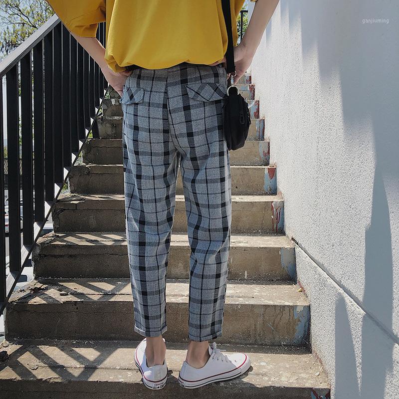 Летние новые брюки плед мужчины мода ретро прямо через повседневные брюки мужчина уличная одежда тренд хип-хоп свободные пробежки
