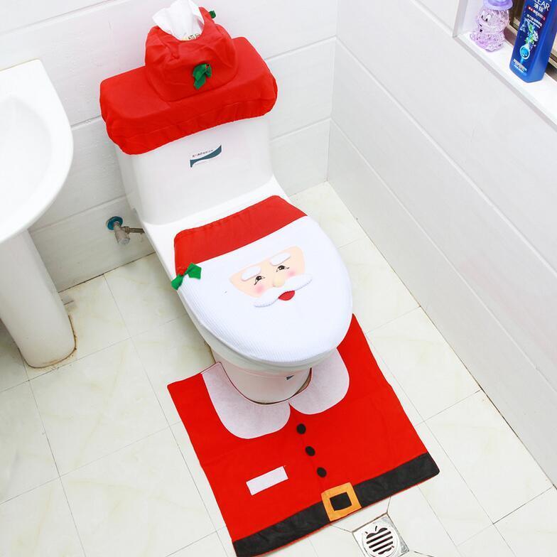 مل 3pcs / مجموعة عيد الميلاد سانتا كلوز تغطية مقعد المرحاض المضادة للانزلاق وحمام حصير طلعت البساط ديكور عيد الميلاد لديكور المنزل 2021 نويل ناتال XA31