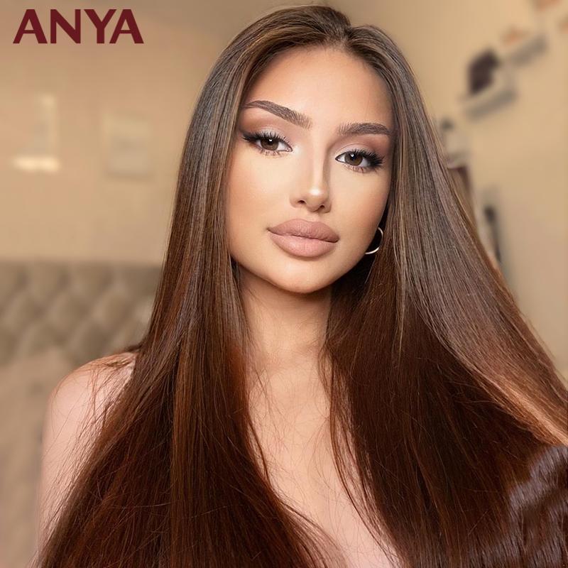 Anya Kahverengi Renk Düz İnsan Saç Peruk Öncesi Klumped Şeffaf Dantel Ön Malezya Remy Saç Siyah Kadınlar için 30 inç Peruk