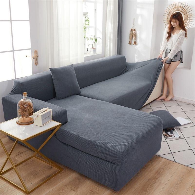 Couvercle de canapé sectionnel à angle élastique Velvet pour salon Couch-couvre-fauteuil Couverture de fauteuil moderne L Shasettes Spectacles Couverture de siège LJ201216