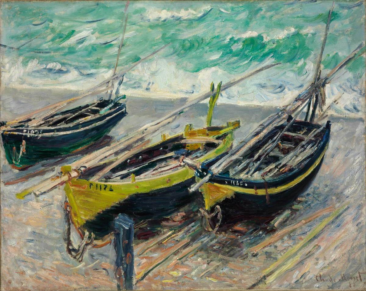 Tuval Wall Art Canvas Pictures 201.113 tarihinde Boyama Claude Monet Üç Balıkçı Tekneleri Ev Dekorasyonu El Sanatları / HD Baskı Yağ