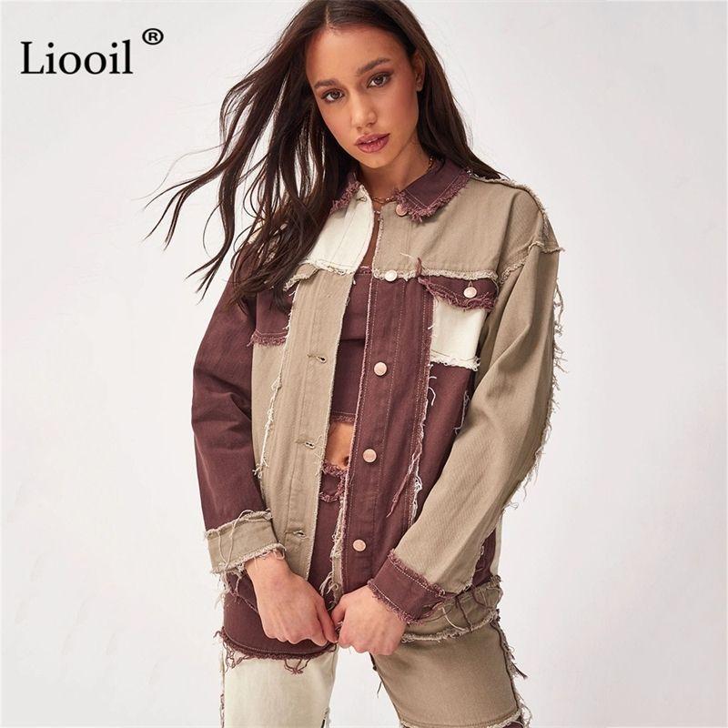 Liooil patchwork сексуальные джинсовые пальто и куртки с карманами осень зима улица stortwear цвет block вверх женщина
