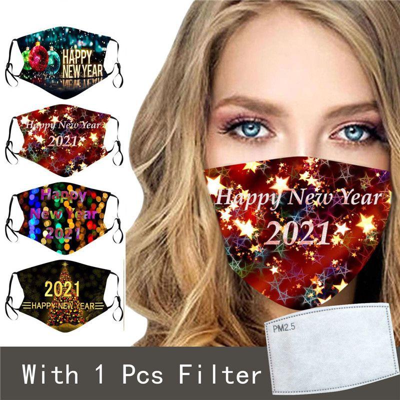 2021 Buon anno maschere Capodanno regolabile riutilizzabile moda 3d stampa maschera faccia nuovo anno regalo per bambini e maschera per adulti con filtro