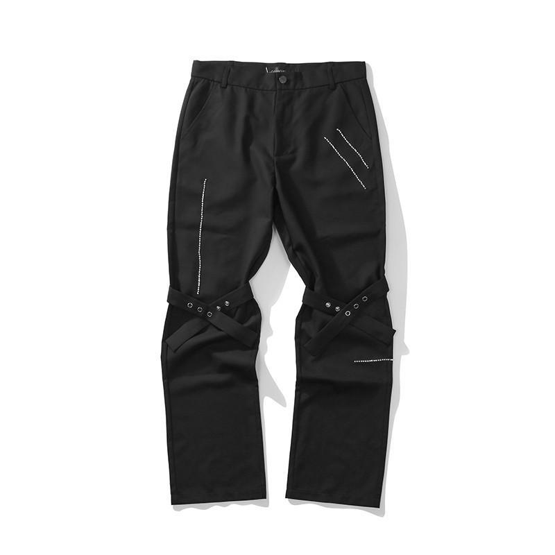 Bordado negro Pantalones casuales sueltos Hombres y mujeres Rodilla recta Lace Up Streetwear Traje Pantalones
