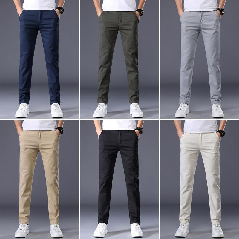 7 цветов мужские классические сплошные цветные повседневные брюки новая осень бизнес мода стрейч хлопок регулярно подходит брендовые брюки malesno33v5l