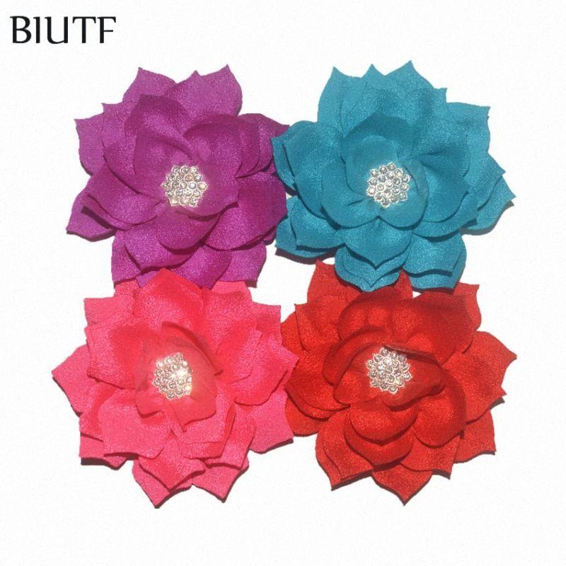 Saçlı 30pcs / lot 3.2 '' Kumaş Suni Çift Katmanlı Lotus Çiçeği Çocuk Kafa Firkete Giyim Aksesuarları TH288 yGmU # Clip