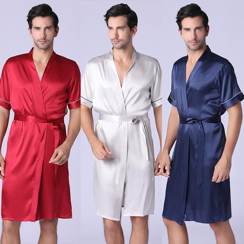 Gecelik Erkek İlkbahar ve Yaz Bornoz Uzun Pijama Ev Giyim Pijama Homme Pijamas Hombre Pijama Erkekler Pijama Masculino