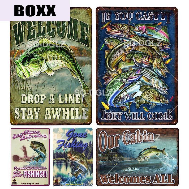 Señal Pescador Reglas metal de la vendimia del metal Placa Placa decoración de la pared de chapa Carteles de bienvenida cartel regalo