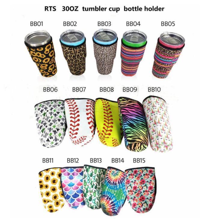 Soporte de tambor Cubierta Bolsas Neopreno Mangas aisladas Tazas Tazas Copas Cubierta de botella de agua Girasol Celebrado Impreso 15 estilos LSK1886