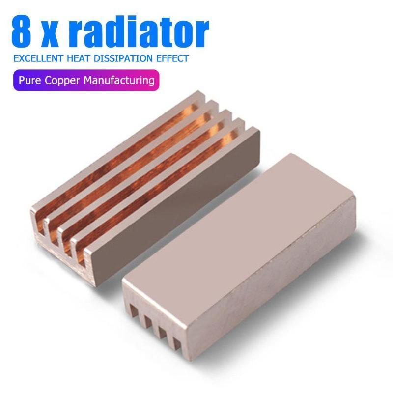 8шт Компьютер медного радиатор клей наклейка Laptop Desktop PC охлаждение радиатора для оперативной памяти Cooler Радиатора