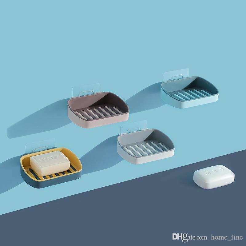Sabão Titular Double Layer sabão portátil Dish parede adesivo Banho Acessórios Bandeja Caso Prateleira de drenagem de armazenamento Soap Box Container
