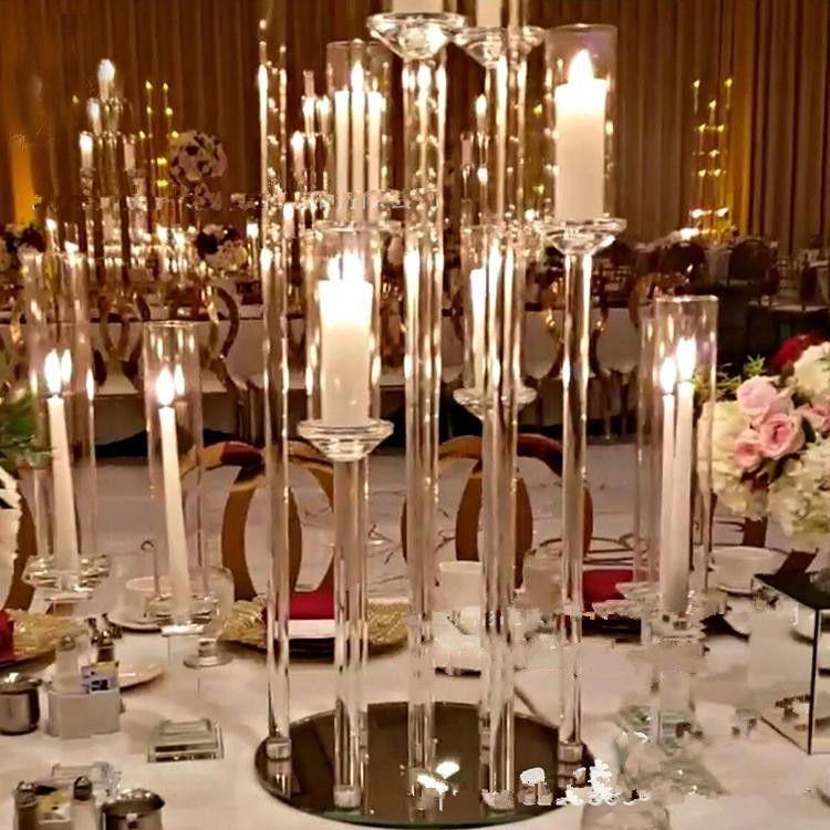 아크릴 Candelabra 8 헤드 암 촛불 홀더 웨딩 테이블 중심 꽃 스탠드 홀더 candelabrum 파티 홈 장식