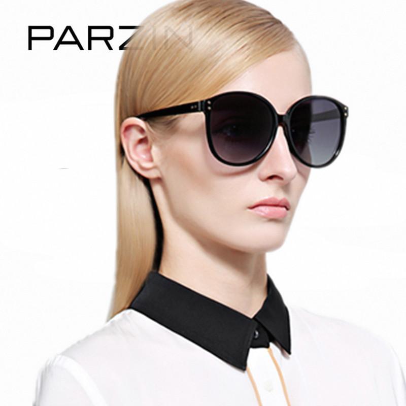 Sunglasses Parzin Polarized Mulheres Proteção UV Feminino Sol Óculos Coloridos Senhoras Tons Preto Com Caixa de Embalagem 9839