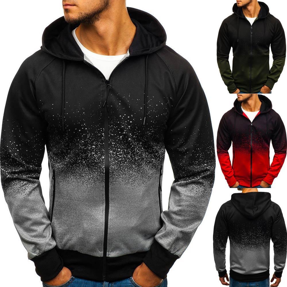 Осень и зима мужская повседневная молния капюшон спортивный хип-хоп хаотичный точечный градиентная печать спортивная куртка кардиган