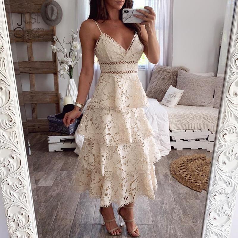 Сексуальное белое кружевное летнее платье женщин спагетти ремешок без спинки v шеи каскадные оборками платье праздничное пляжное платье 2021