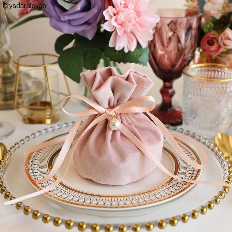 Подарочная упаковка роскошная упаковка DrawString бархатная сумка Sachet сумка для ювелирных изделий свадебные конфеты коробки с жемчужной струнной декор оформления сумки1