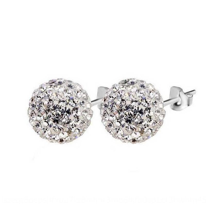 w54Qf S925 Gümüş süper flaş elmas Shambala topu basit ve elmas küpe ve küpe çok yönlü