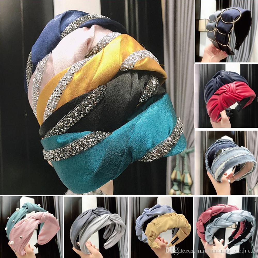 Бисера Pearl Тюрбан оголовье для женщин Rhinestone Hairbands Twist ободки Йога аксессуары Headwrap Bandana Девушки волос 124 стилей